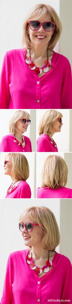 Middle long hairstyle over 40 | 40plusstyle.com