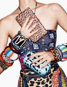 Mixed prints, clutches & Bangles