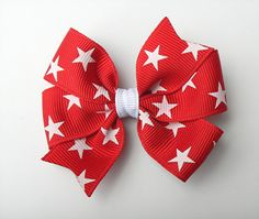 "4th of July Hair Bow - Red with White Stars - 3"" Pinwheel Bow"
