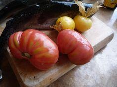 Jitomates riñones y tomates criollos de Malinalco con trucha listos para cocinarse
