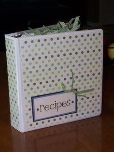 Recipe binder - good idea for 4-H recipes.