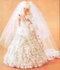 Barbie is getting married and her wedding dress comes with diagram ❤Traje de novia a crochet | labores de esther.