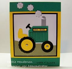 Stampin' Up!  Tag Punch  Debbie Henderson  John Deere Tractor