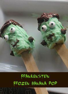 Frankenstein Chocolate Covered Frozen Banana Pops