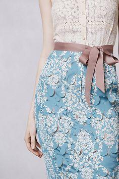 woman fashion, color combos, dress, anthropologie, outfit, belt, color tones, pencil skirts, blue prints