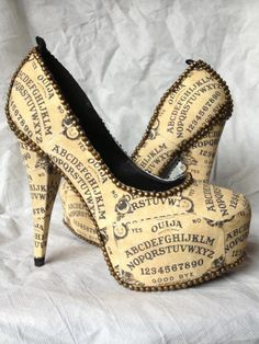 Simply Beautiful! shoes, board heel, fashion, style, ouija board, metal, heels, antiqu, board shoe