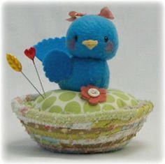 sweet blue bird pincushion