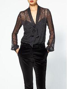 Rachel Zoe Nathalie Scarf Collar Silk Top | Piperlime