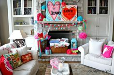 "Pinning for the fireplace/bookcase, but (no surprise!), it's from a post about ""Valentines Day Mantel {Easy Decorating}"""