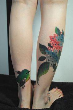 bird + flowers #ink #tattoo