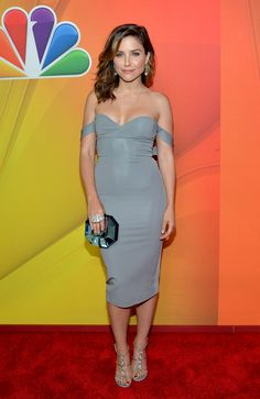 Sophia Bush cleavage display in an off the shoulder gray dress at NBC upfronts