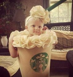this is the most adorable halloween costume  i have ever seen for a little girl. definitely doing this one day. kid halloween costumes, kid costumes, costume ideas, dress up, children, babi, future kids, costume halloween, starbucks