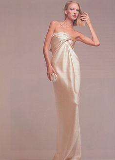 fashion, satin, dress, 1976, karen bjornson, evening gowns, column, hammer silk, halston