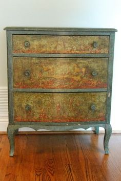 Dallas: Hand Painted Antique French Country Bowfront Chest $595 - http://furnishlyst.com/listings/794071