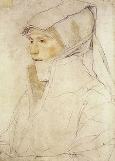 Hans Holbein the Younger: Portrait of the Wife of Burgermeister Meyer. Chalk drawing, 1525-6.