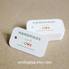 Handmade with Love Tags -Personalized Gift Tags - Handmade by- Thank you tags - Hang tags - Wedding Gift Tags - Set of 40 (Item code: J228). $15.00, via Etsy.