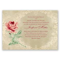 For a vintage glam wedding theme, this antique invitation design with real glitter combines the best of both worlds. #WeddingInvitations #VintageWedding #Glitter #DavidsBridal http://www.invitationsbydavidsbridal.com/Wedding-Invitations/Vintage-Invitations/2947-DB33056APP-Radiant-Rose-Glitter-Apple--Invitation.pro?&sSource=Pinterest&kw=Vintage_DB33056APP