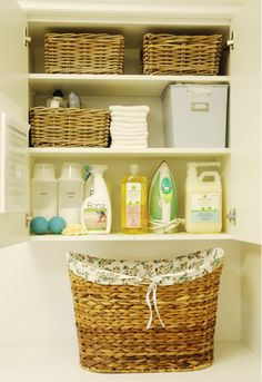 Laundry Room Organizing Tips-Love the old milk jugs to store stain remover, etc.