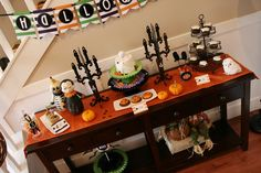 Fantastic dessert table at a Halloween Party.  See more party ideas at CatchMyParty.com.  #halloweenpartyideas