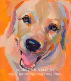 "Painting a Dog a Day - painted pet portraits - Quincy by Kimberly Kelly Santini - 7"" x 8"",  $379"