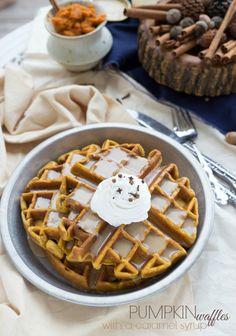 Cinnamon-Pumpkin Waffles with a Caramel Syrup
