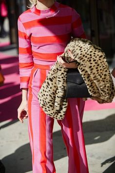 pink stripes + leopa