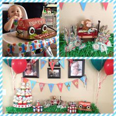 Little red wagon first birthday theme