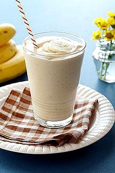 banana & peanut butter smoothie – joins with non-fat yogurt & milk for an ultra creamy and delicious smoothie.  Ingredients:        2   whole Chiquita Bananas, frozen*, peeled and sliced      1   (6-oz.) carton non-fat Vanilla yogurt      1/3   cup creamy Peanut butter      1/2   cup non-fat Milk