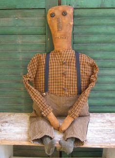 Extreme Primitive Pumpkin Doll, handmade by PrairiePrimitives