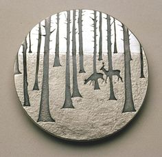 "Brooch | Jane Dodd. ""Deer in the Wood"".   Sterling silver.  From her ""Land and Nature"" series."
