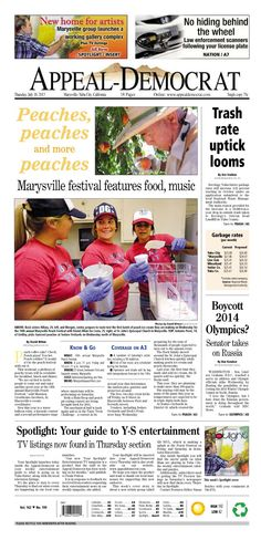 Appeal-Democrat front page for Thursday, July 18, 2013.