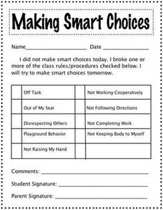 Making Smart Choices sheet - Behavior note that has student taking personal responsibility...make room for a description, hand written by the child.