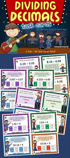 This dividing decimals pack has a total of ninety-six (96) task cards divided into three (3) sets. The problems have varying levels of difficulty which will provide excellent practice to students at all skill levels.$