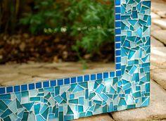 Teal Mosaic Mirror Custom by GreenStreetMosaics on Etsy, $175.00