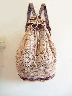 purs, crocheted backpack, crochet bags, knitted backpack, summer bags, crochet backpack, drawstring bags