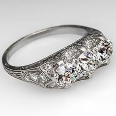 1930's Antique Three-Stone Engagement Ring Engraved Platinum