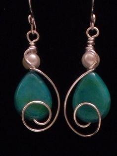 Turquoise & Pearl Bangle Earrings
