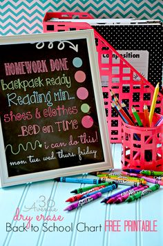 Free Back to School Chart Printable