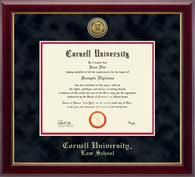 Cornell University Law School Diploma Frame - Features a gold engraved medallion of the Cornell University seal set into a 23K bezel. It is recessed into black suede and red museum-quality matting in our Gallery moulding with the school name gold embossed below. The Gallery moulding is crafted of solid hardwood with a high-gloss cherry lacquer finish and gold inner lip.