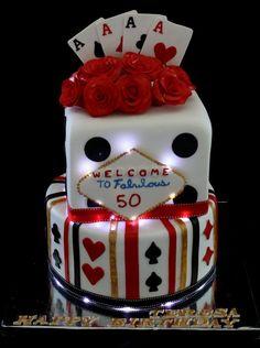 Vegas themed 50th birthday cake