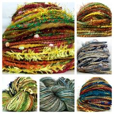 Just a few of the handspun yarns available in my etsy shop - New Year's Sale going on now, too!  Use coupon code NYE201031 for 31% off all handspun yarn skeins - not valid on yarn clubs, batt club or gift certificates and ends 7am CST new year's day!  http://www.etsy.com/shop/kittygrrlz yarn obsess, crochet, handspun yarn, yarns, art yarn, yarn tale, knit, handspun art, thing yarn