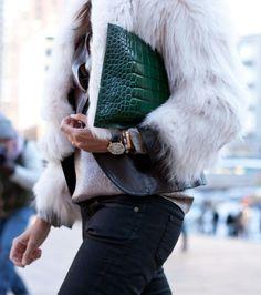 emerald, fur, green clutch, clutch bags