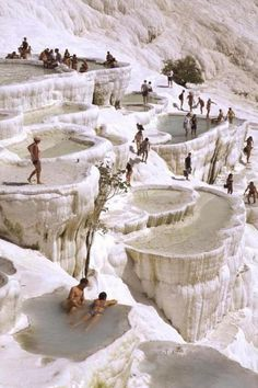 The natural rock pools in Pamukkale, Turkey