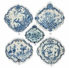 LATE 17TH-EARLY 18TH CENTURY DUTCH-DELFT FAIENCE CHINOISERIE Lozenge SHAPED PLATES