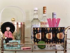 Bar cart styling featuring a set of five Vintage Fred Press Celestial Glasses for sale in the AnthologyHouse Etsy shop. https://www.etsy.com/listing/201292139/vintage-fred-press-celestial-highball