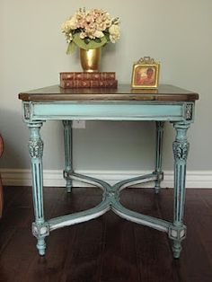Love this distressed mint color. Would look lovely with red chair.     This is the best website showing before/after ideas for refurbishing furniture with paint. (no how-to instructions, however)