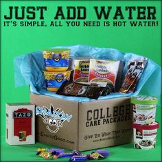 """""""Just Add Water"""" Care Package  ~ Instant Mac and Cheese. Ramen, Tea, Hot Cocoa, Instant Oatmeal, etc..."""