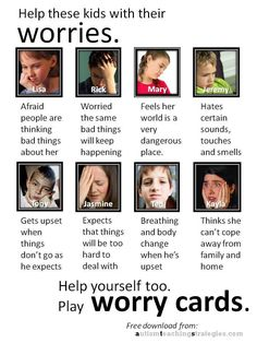 Worry Cards | Anxiety is common in children with Asperger's and other autism spectrum disorders. Here is a set of 32 cards for you to download and cut out to play a therapy game. The cards feature eight children with different anxiety profiles. Card users identify with the children described on the cards and increase awareness of their own anxiety issues.