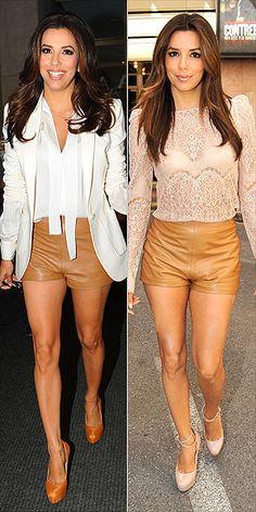 Eva Longoria, leather shorts, lace top