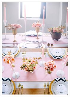 pink and black tablesetting details